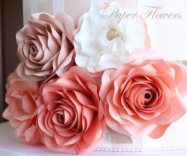 前田京子のペーパーフラワー・ペーパーアートのペーパーフラワーケーキ(紙のバラ)